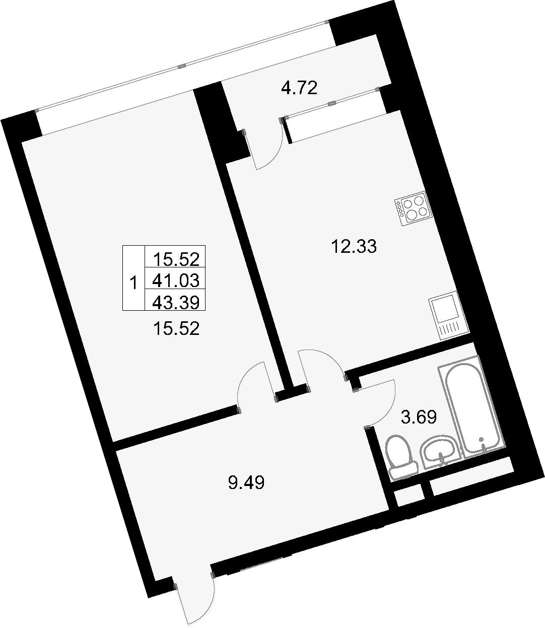 1-комнатная, 43.39 м²– 2