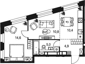 2Е-к.кв, 45.7 м²