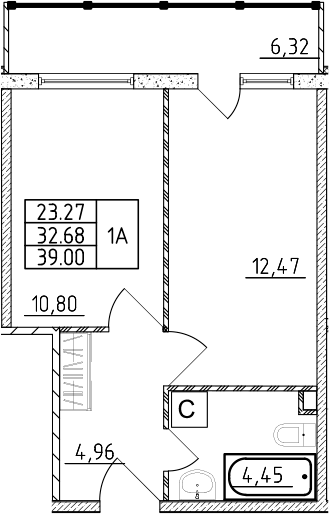 1-к.кв, 34.55 м²