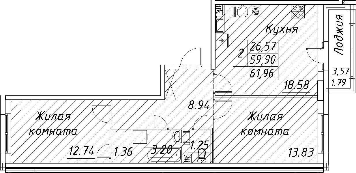 3-к.кв (евро), 63.75 м²