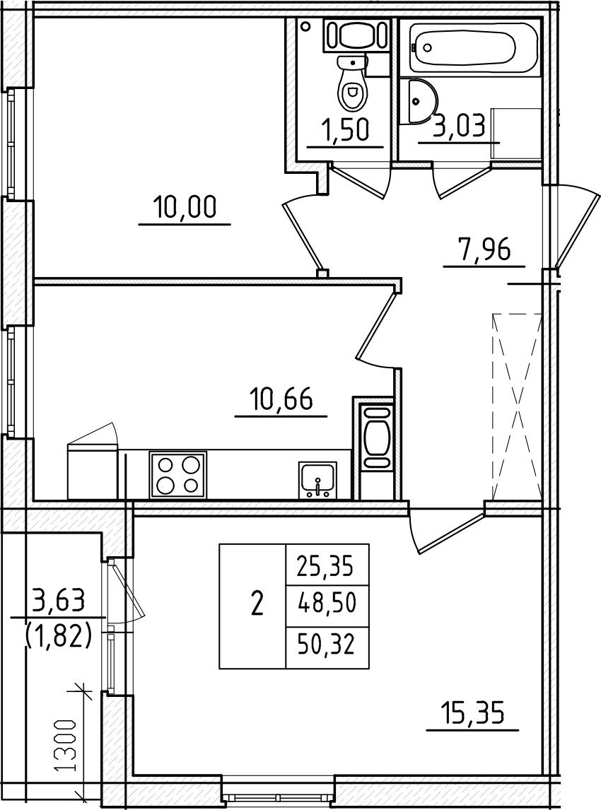 2-к.кв, 50.32 м², 7 этаж