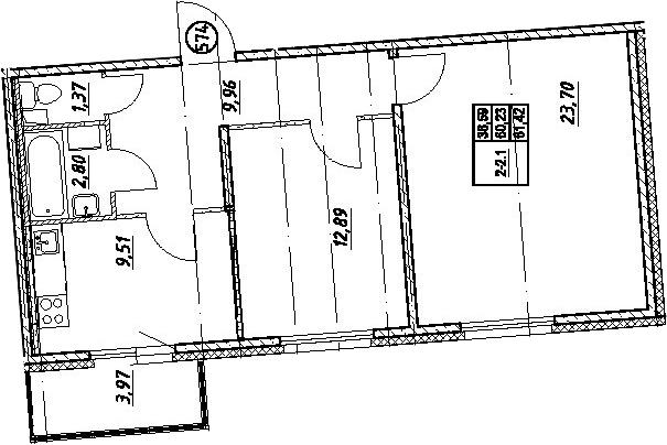 2-комнатная, 61.42 м²– 2