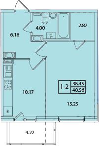 1-к.кв, 42.67 м²