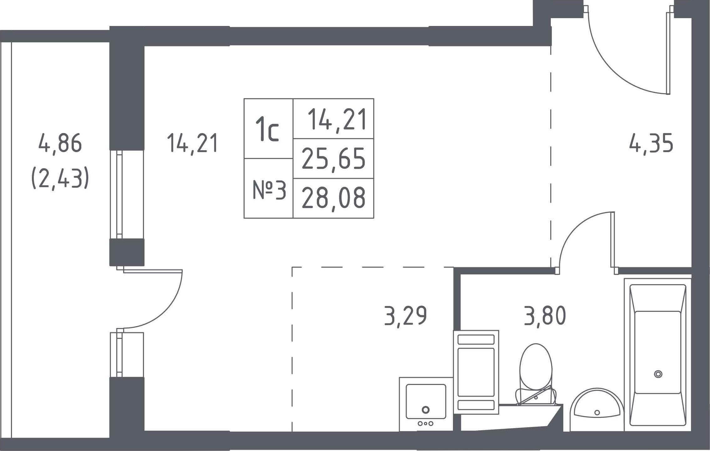 Студия, 28.08 м², 12 этаж