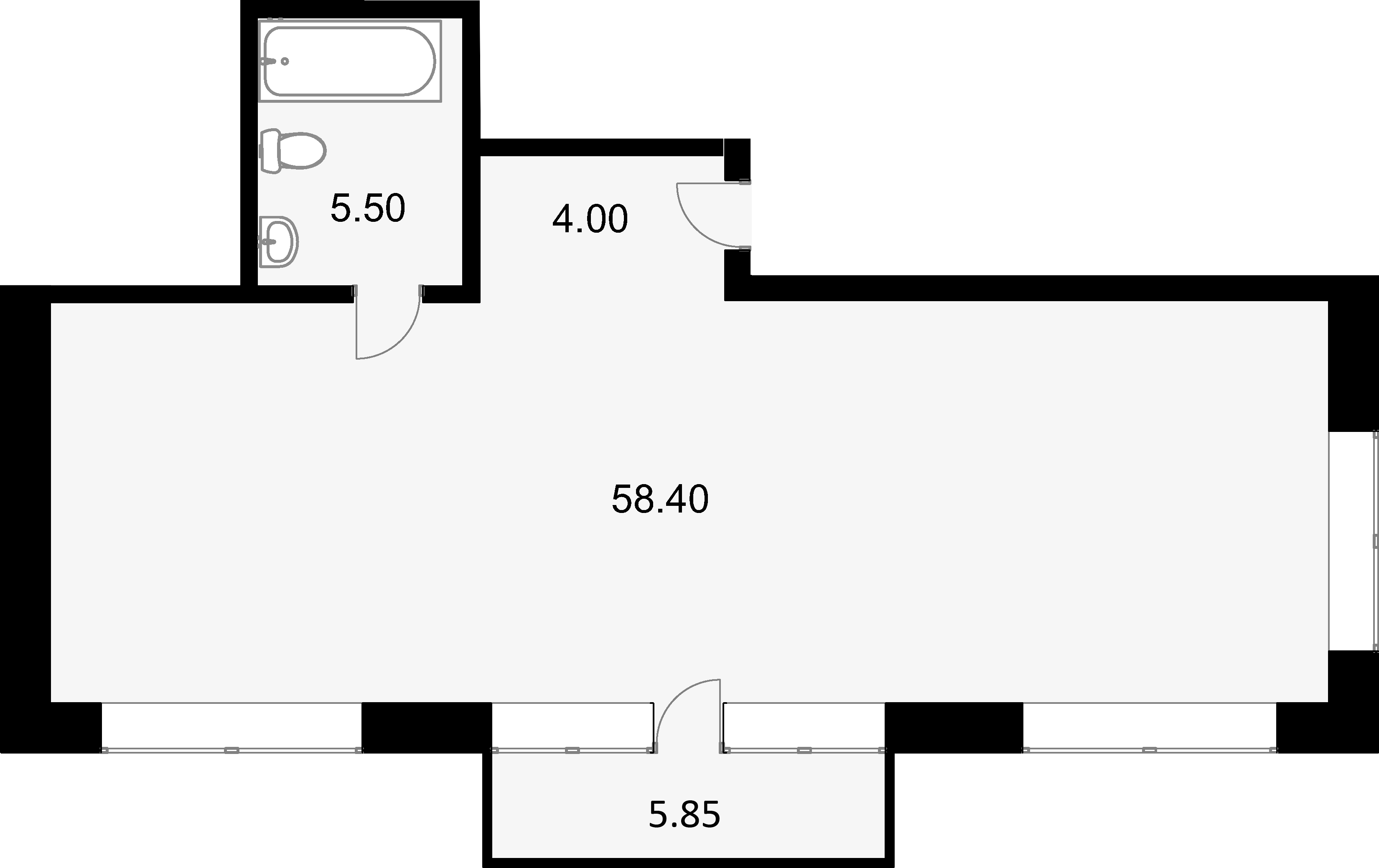 Своб. план., 69.2 м², 2 этаж