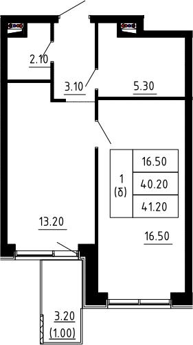 1-к.кв, 41.2 м²