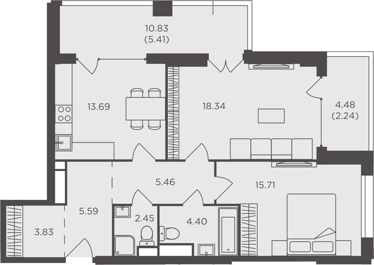 2-комнатная, 77.12 м²– 2