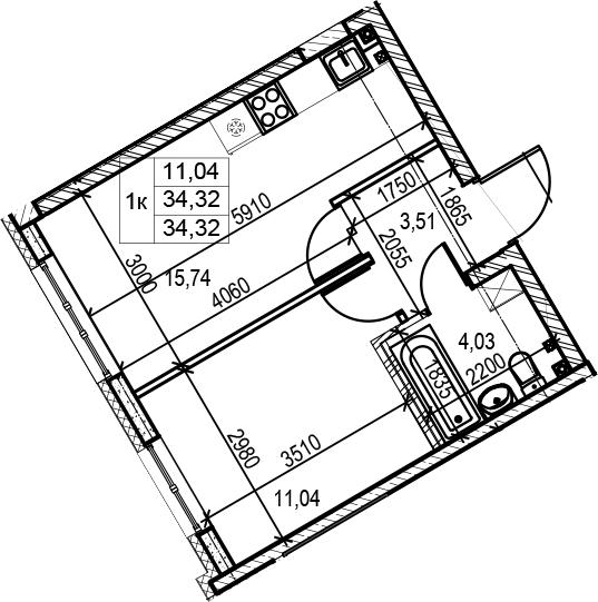 1-комнатная, 34.32 м²– 2