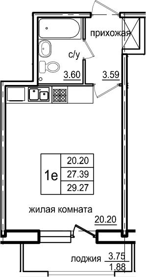 Студия, 29.27 м²– 2