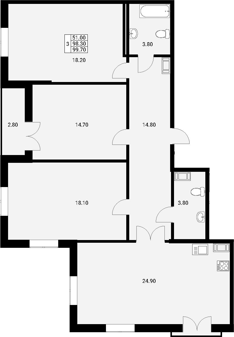 4Е-комнатная, 99.7 м²– 2