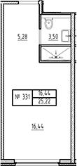 Студия, 21.72 м²– 2