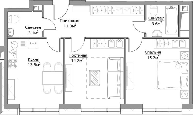 2-комнатная, 60.9 м²– 2