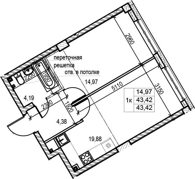 1-к.кв, 43.42 м², 1 этаж