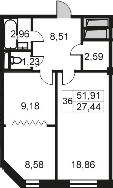 2-комнатная, 51.91 м²– 2