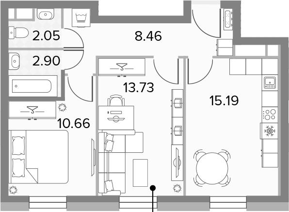 3Е-к.кв, 52.99 м², 11 этаж