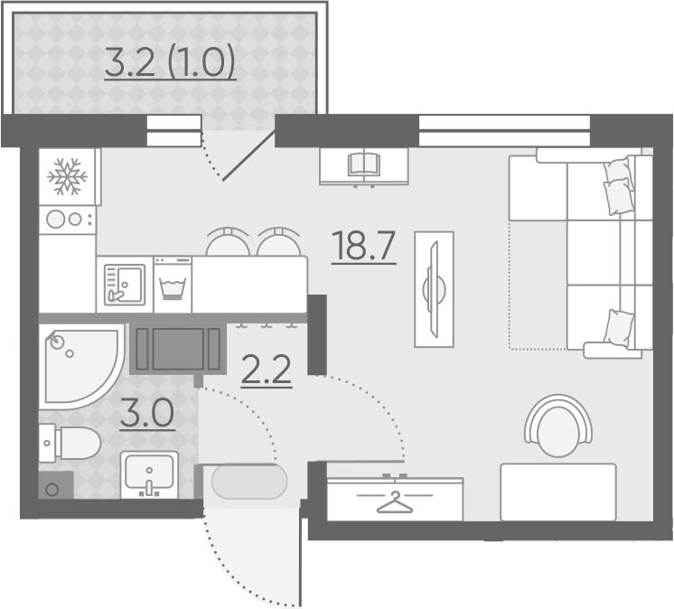 Студия, 24.9 м², 14 этаж