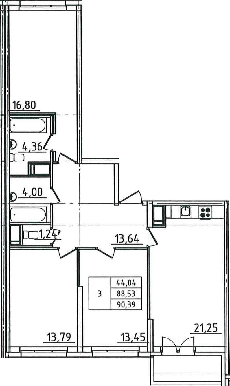 4-к.кв (евро), 92.25 м²