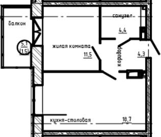 1-комнатная, 40.4 м²– 2
