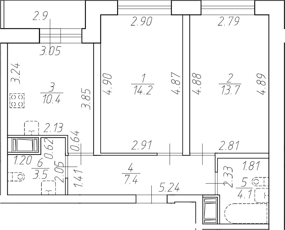 2-к.кв, 53.3 м²