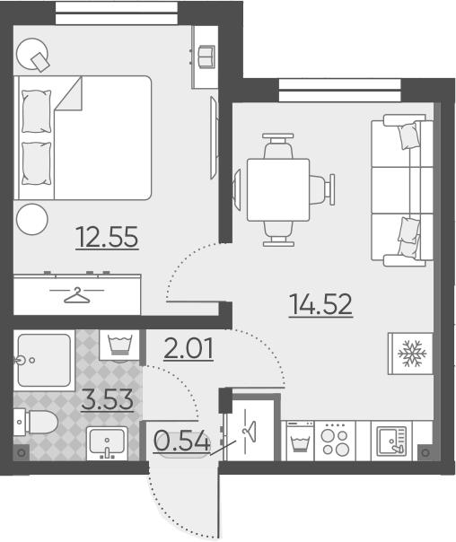 2Е-комнатная, 33.15 м²– 2