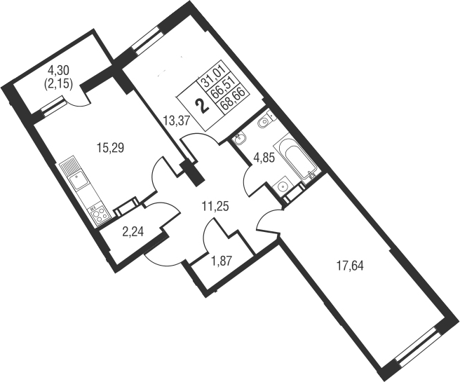 3-к.кв (евро), 70.81 м²