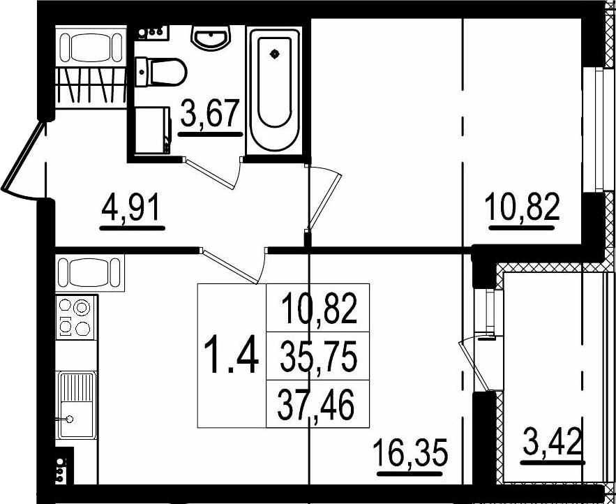 2Е-комнатная, 35.75 м²– 2
