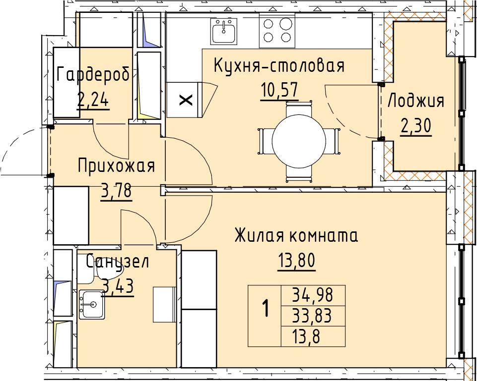1-к.кв, 34.98 м²
