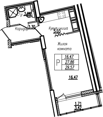 Студия, 29.57 м²– 2