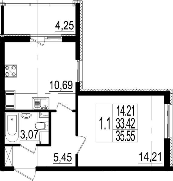 1-комнатная, 33.42 м²– 2