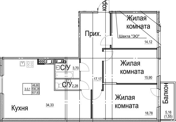 4Е-к.кв, 107.83 м²