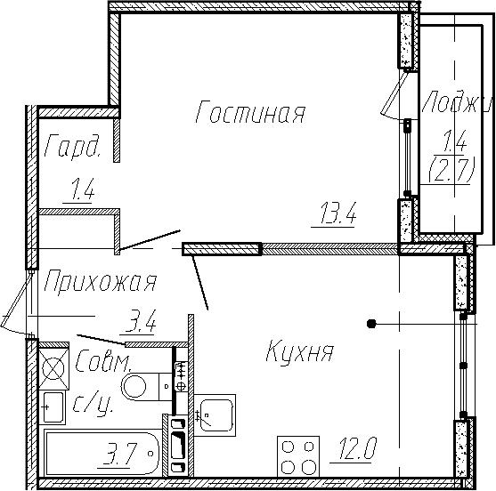 1-к.кв, 33.9 м², 3 этаж