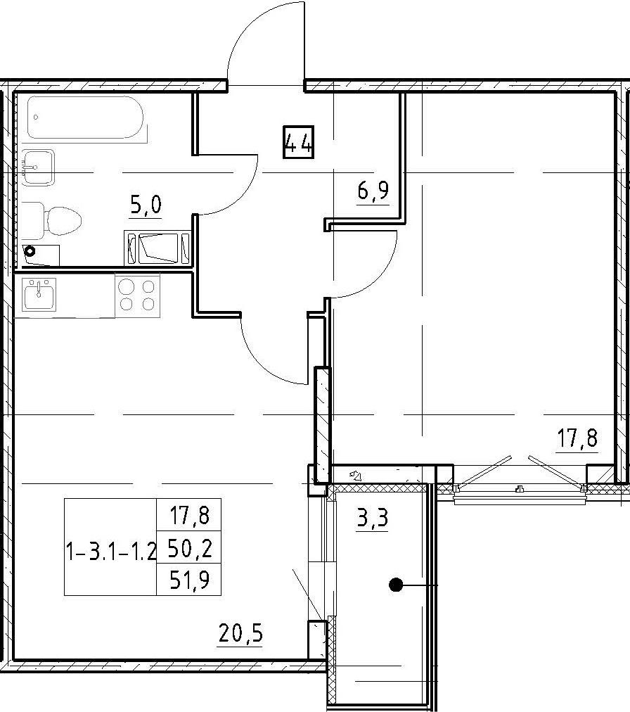 2Е-к.кв, 51.9 м², 3 этаж