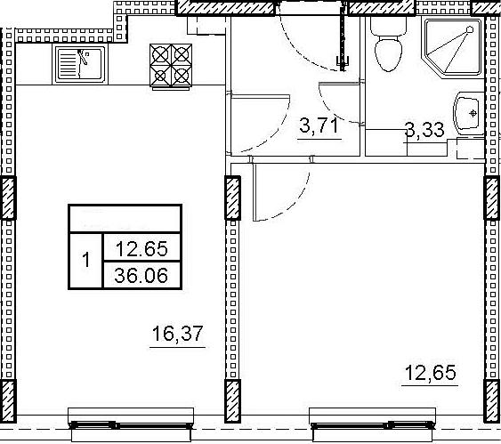 2Е-комнатная, 36.06 м²– 2