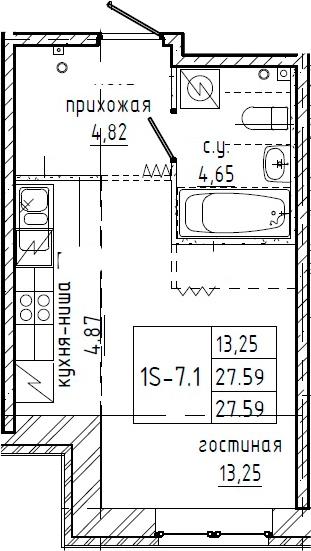 Студия, 27.59 м²