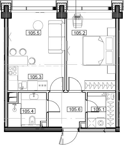 2Е-комнатная, 43.12 м²– 2