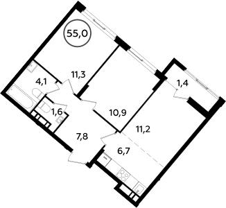 3Е-комнатная, 55 м²– 2