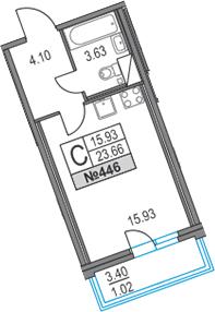Студия, 23.66 м², 9 этаж