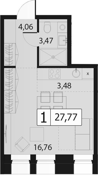 Студия, 27.77 м²– 2