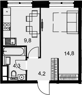 1-к.кв, 33.1 м², 11 этаж