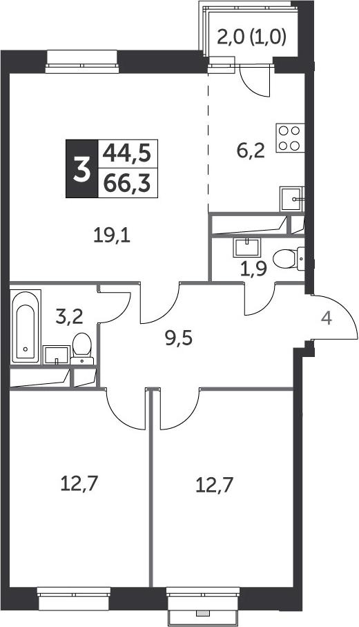 3Е-к.кв, 66.3 м²