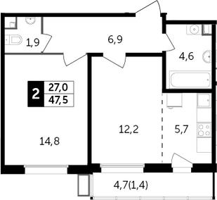 2Е-к.кв, 47.5 м², 11 этаж