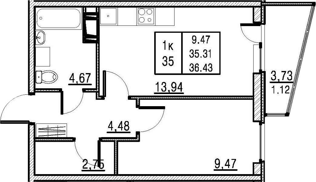 1-комнатная, 35.31 м²– 2