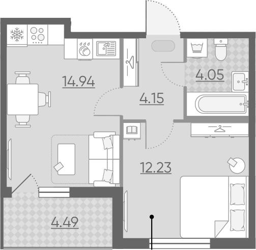 1-к.кв, 37.62 м², 2 этаж
