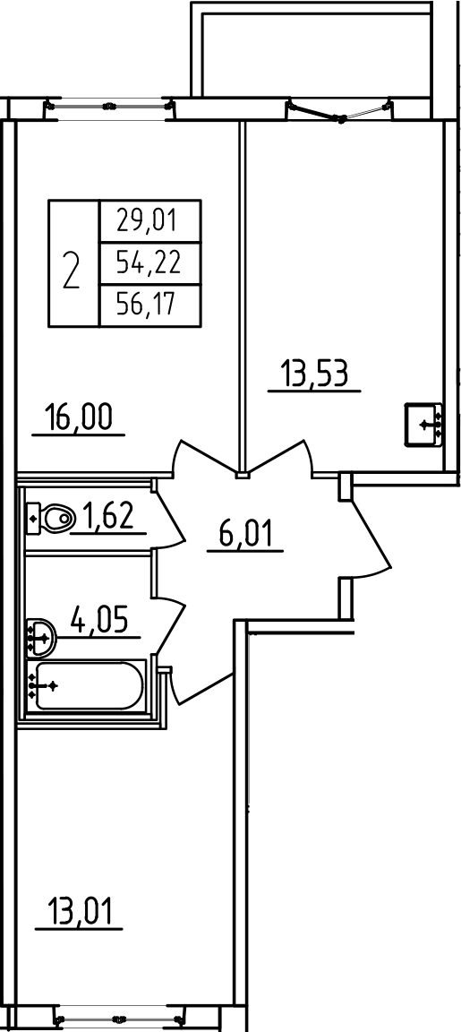 2-к.кв, 58.12 м²