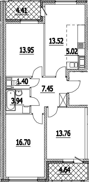 4Е-к.кв, 80.27 м², 15 этаж