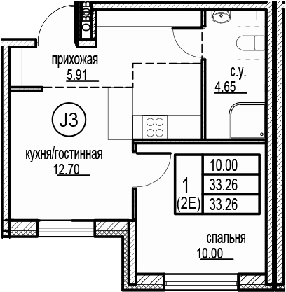 2Е-комнатная, 33.26 м²– 2