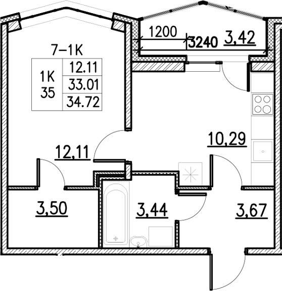 1-к.кв, 34.72 м²