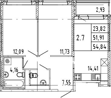 3Е-комнатная, 53.38 м²– 2