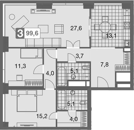 3-комнатная, 99.6 м²– 2