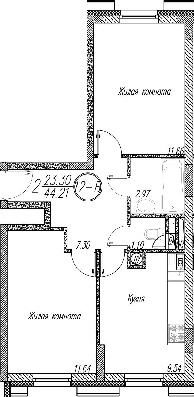2-к.кв, 44.21 м²